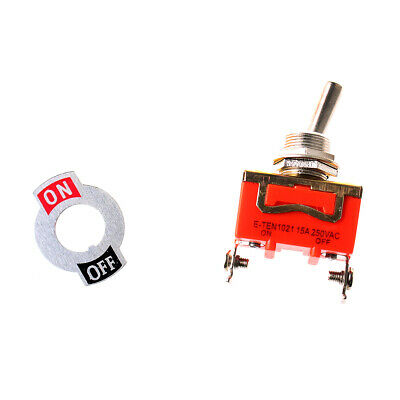 10Pcs SPST ON/OFF 2 Position 2 Screw Terminals Toggle Switch AC 250V 15A