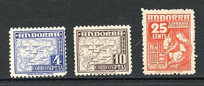 ANDORRA - SPANISH 1948-53 4p and 10p Map plus 25c express letter mint hinged