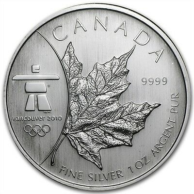 2008 Canadian $5 Maple Leaf Vancouver 2010 Olympics 1 oz .9999 Silver Coin