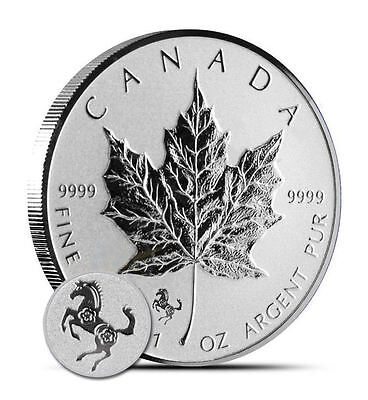 2014 Canadian $5 Maple Leaf Horse Privy 1 oz .9999 Silver Coin - Reverse Proof