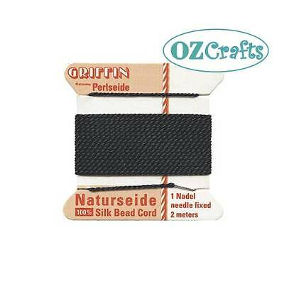 GRIFFIN SILK Beading Cord BLACK - sizes 0-16 (combine postage to save $$$)