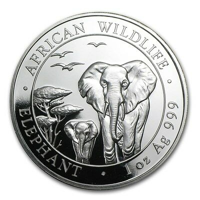 2015 Somalia 100 Shillings African Wildlife Elephant 1 oz .999 Silver Coin