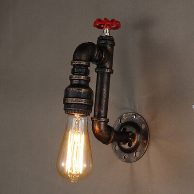 Vintage Industrial Water Pipe Wall Lamp Light Iron Home Cafe Restaurant Decor