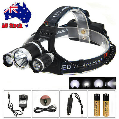 20000LM 3xCREE T6+2R5 LED Head Headlamp Light 2*18650+CAR Charger+Smile USB AU