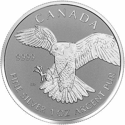 2016 Canadian $5 Peregrine Falcon 1 oz .9999 Silver Coin - Reverse Proof