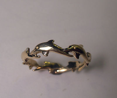 14 Kt Solid Yellow Gold Dolphin Ring Size 8