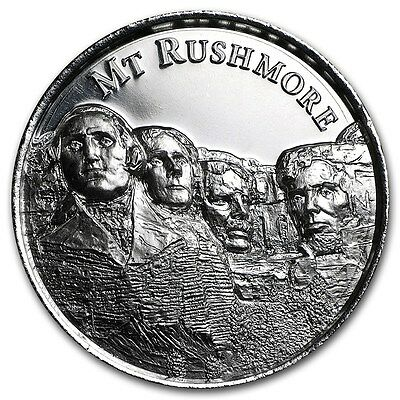 American Landmarks - Mt Mount Rushmore Ultra High Relief 2 oz .999 Silver Round