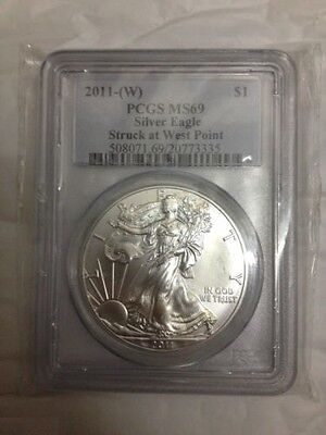 2011 (West Point) ASE $1 Dollar American Eagle 1 oz .999 Silver Coin - MS69 PCGS