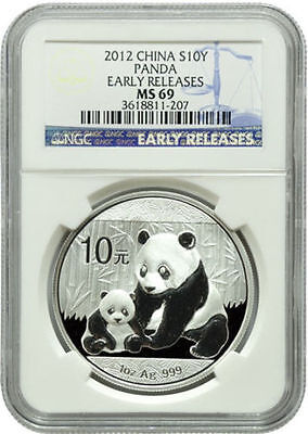 2012 Chinese Panda 1 oz .999 Silver Coin | MS69 NGC - Blue Label Early Releases