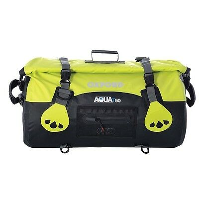Oxford Aqua T50 All-Weather Waterproof Motorcycle Luggage Roll Bag | Black Fluro