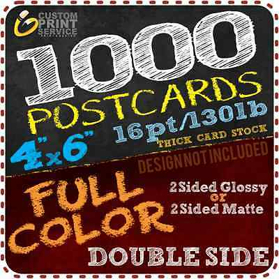 ➽1000 Custom Full Color 4x6 Postcards w/UV Glossy 16pts + Free Shipping