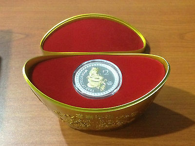 New Zealand Mint $ 2 Dollars Niue Gilded Dragon 2012 1 oz .999 Proof Silver Coin