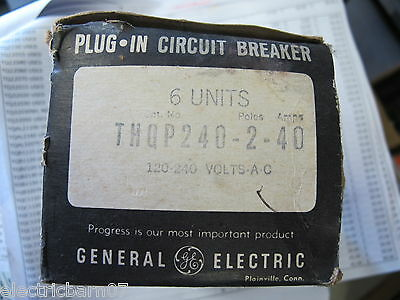 (6) Ge Thqp240, 40 Amp 2 Pole Thin Circuit Breaker- New Box Of 6