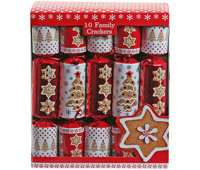 """Family Crackers (Box of 10) 12"""" Red & White Gingerbread Christmas Cracker Pack"""