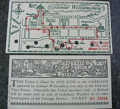 1954 Colonial Williamsburg Ticket Carriage Ride Ticket Numbered Originals