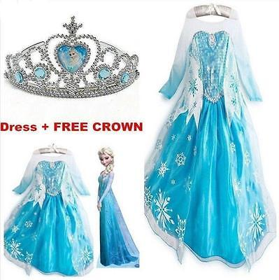 Dress+Free Crown Hot Frozen Elsa Costume Disney Princess Girls Child Fancy Long