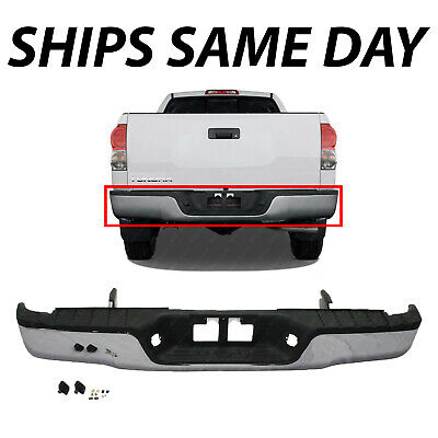 NEW Chrome - Complete Steel Rear Bumper W/ Hardware For 2007-2013 Toyota Tundra