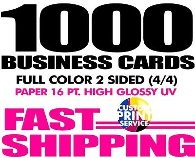 ➽1000 Custom Full Color Business cards  w/UV Glossy 16 pt ➽ FAST SHIPPING