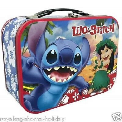 16366 Disney Lilo & Stitch Large Tin Tote Lunch Box Container School Kids