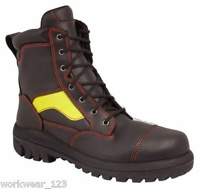 Size 9 Oliver 66360 Fire-Fighters Style Lace-Up Work Boots Hi-Vis Stripe