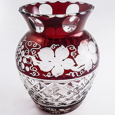 "Ruby Red Cut to Clear Bohemian ""Grape Vine"" Mouth Blown Vase, ANTIQUE"