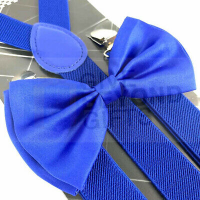 Men's Formal Wear Accessories Solid Royal Blue Bow Tie and Suspenders Combo