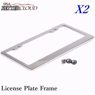 2x chrome stainless steel metal license plate frame screw caps tag cover