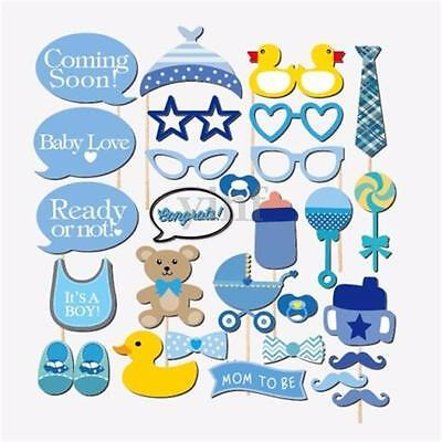 29Pcs Boy Baby Shower Party Masks Photo Booth Props Bear Bottle On Stick Favors