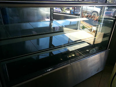 Refrigerated Display Cabinet Cafe Cake Donuts Cold Shelves Glass Stainless Steel