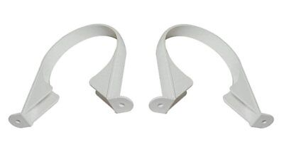 2 x 110mm WHITE Soil & Vent Pipe Clips Support Brackets