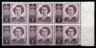 AUSTRALIA • 1947 • Princess Elizabeth Perforation Variety • Block of 6
