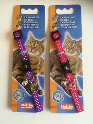 Polka Dot Safety Cat Collar with Bell and Charm