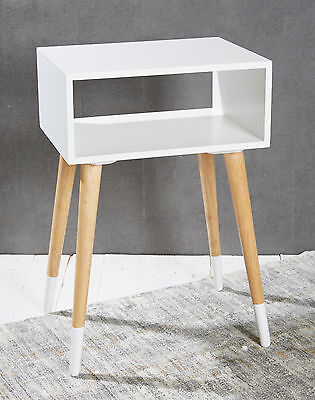 Bedside Table Night Stand White - 1 Shelf - vintage retro chic Side Telephone