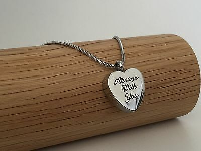 Always With You Silver Urn Necklace Cremation Ashes Ash Keepsake Pendant