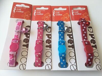Polka Dot Safety Cat Collar with Bell / Pink Flower Design Cat Collar