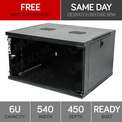 "6U 19"" Network Cabinet Rack Wall Mounted 540*450mm Black Data Comms Patch Panel"