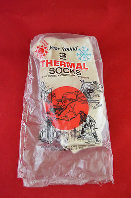 Vintage Year Round Thermal Socks Insulated Soft Cotton New White Size 11