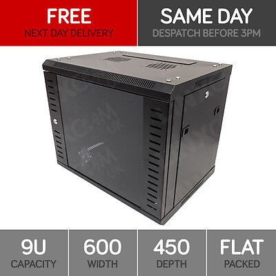 """9U 19"""" Network Cabinet Rack Wall Mounted 600*450mm Black Data Comms Patch Panel"""