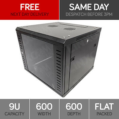 """9U 19"""" Network Cabinet Rack Wall Mounted 600*600mm Black Data Comms Patch Panel"""