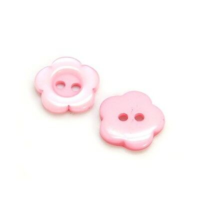 Packet of 20 x Pink Resin 15mm Flower Buttons (2 Hole) HA14290