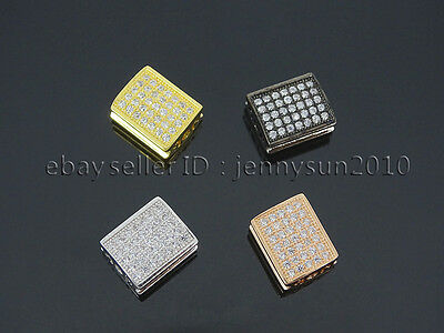 Zircon Gemstones Pave Flat Rectangle 9x11mm Bracelet Connector Charm Beads