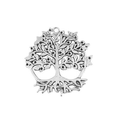 Packet 2 x Antique Silver Tibetan 50mm Tree Of Life Charm/Pendant ZX01490