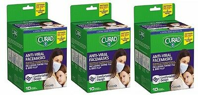 Curad Antiviral Face Mask Comfortable Design 10 Count (Pack of 3)