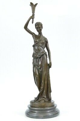 Art Deco Art Nouveau Signed Roman Girl Bronze Sculpture Handmade Figure