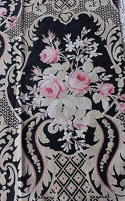 French Antique Roses & Scroll Printed Cotton Fabric Textile c1880~Frame Layout