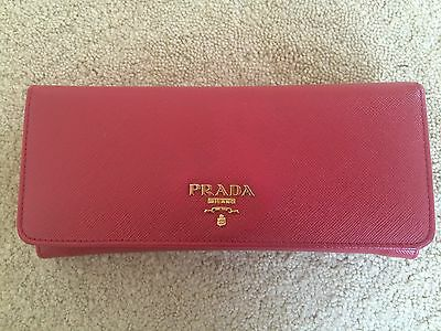 64db14f2cd31 Prada Saffiano Continental Flap Wallet (Red) with authenticity card, box