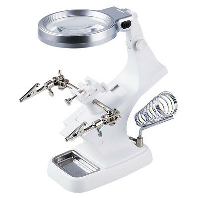 LED Helping Hand Clip Jewelry Magnifying Soldering Iron Stand Lens Magnifier W