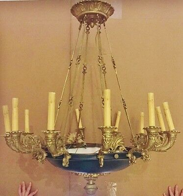 FRENCH Antique NeoClassic EMPIRE Style Dore Bronze 12 Light CHANDELIER Classical