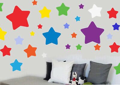 Childrens Colourful Stars - 46 Pack - Wall Art Vinyl Stickers Nursery Bedroom