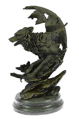 Celtic Moon Wolf Hot Cast Bronze Sculpture Handmade Figure
